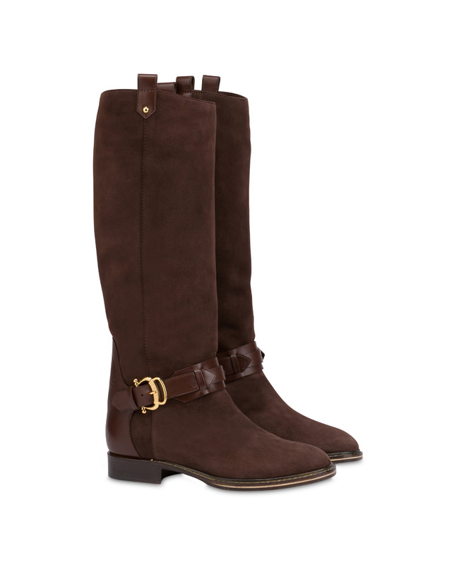 Buckle Notes suede knight boots Photo 2