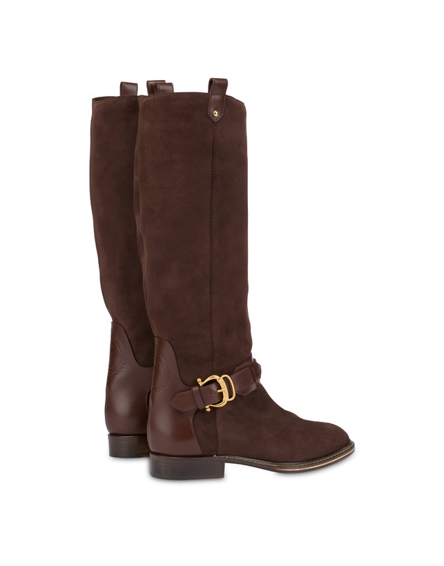 Buckle Notes suede knight boots Photo 3