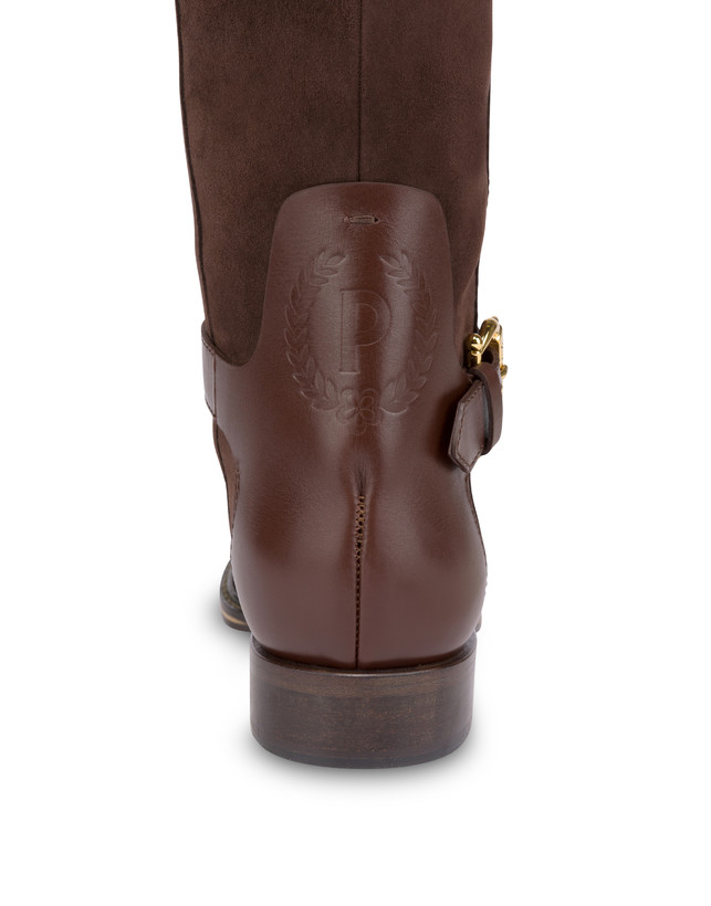 Buckle Notes suede knight boots Photo 5