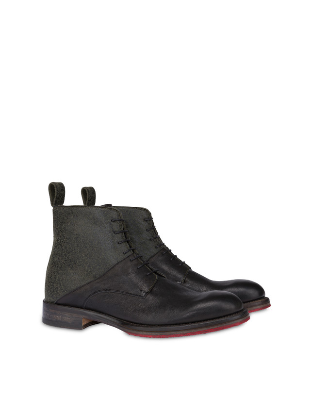 Mezzadro combat boots in calfskin and felt Photo 2