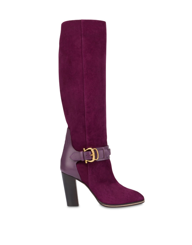 Buckle Notes suede knight boots Photo 1