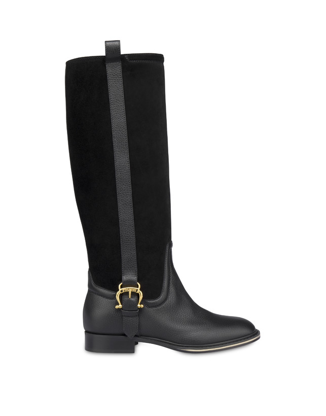Buckle Notes calfskin and crosta suede riding boots Photo 1