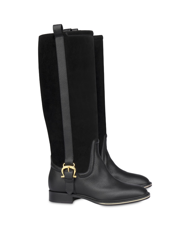 Buckle Notes calfskin and crosta suede riding boots Photo 2