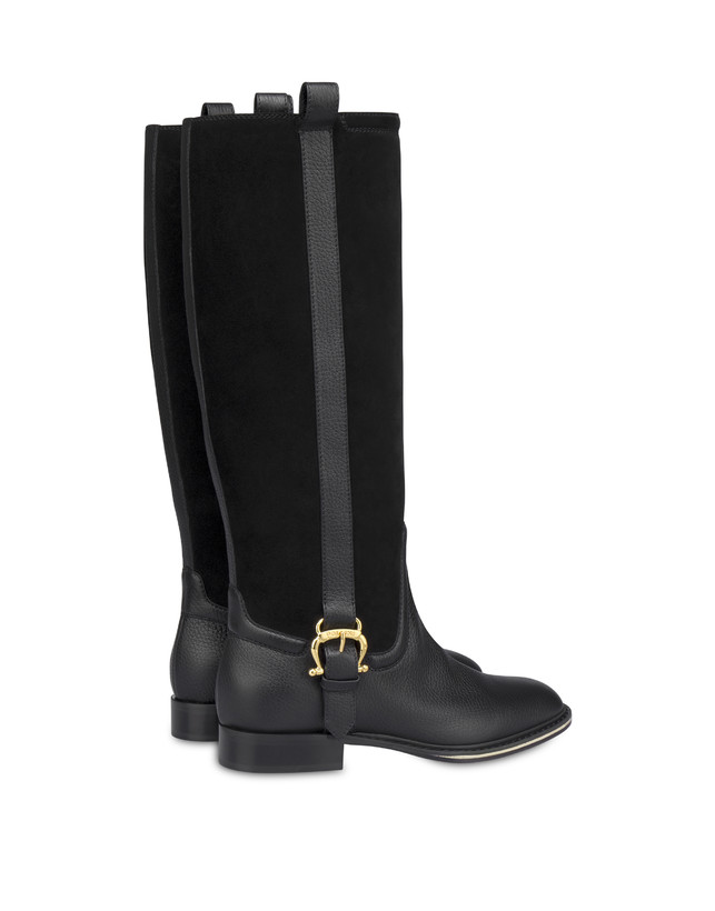 Buckle Notes calfskin and crosta suede riding boots Photo 3
