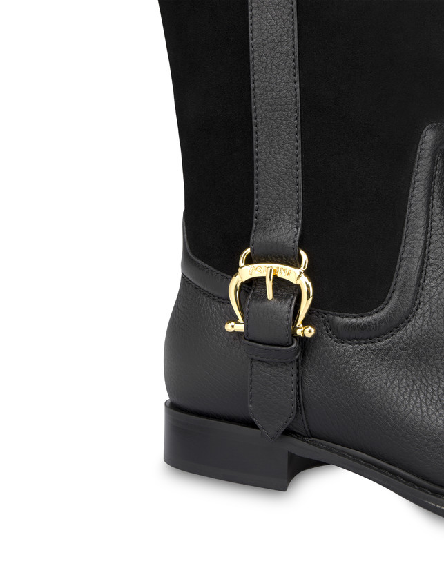 Buckle Notes calfskin and crosta suede riding boots Photo 4