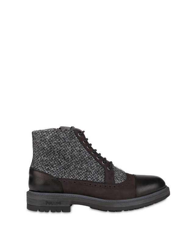 Lace-up ankle boots with zipper in nubuck and kidskin. Photo 1