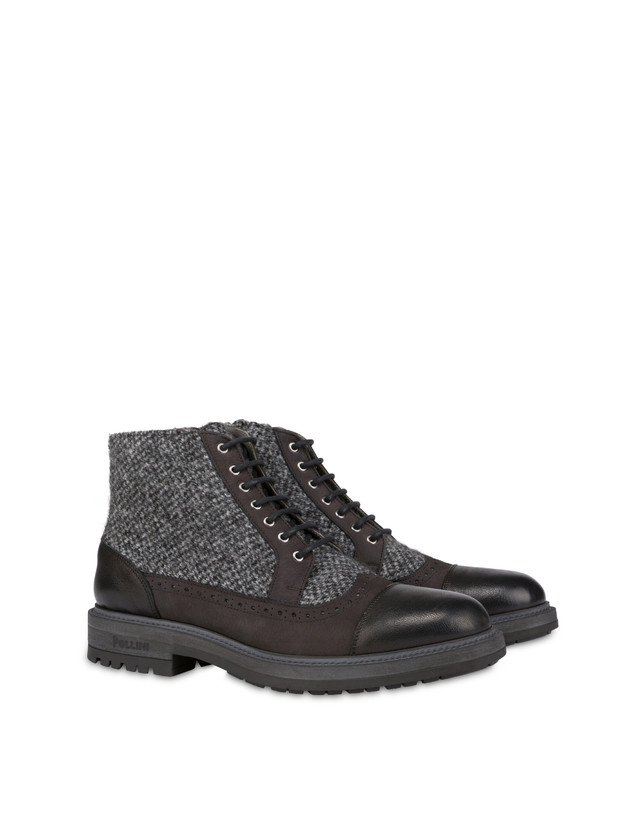 Lace-up ankle boots with zipper in nubuck and kidskin. Photo 2
