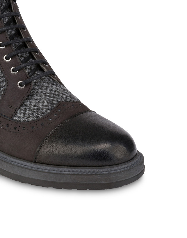 Lace-up ankle boots with zipper in nubuck and kidskin. Photo 5