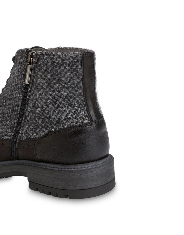 Lace-up ankle boots with zipper in nubuck and kidskin. Photo 6