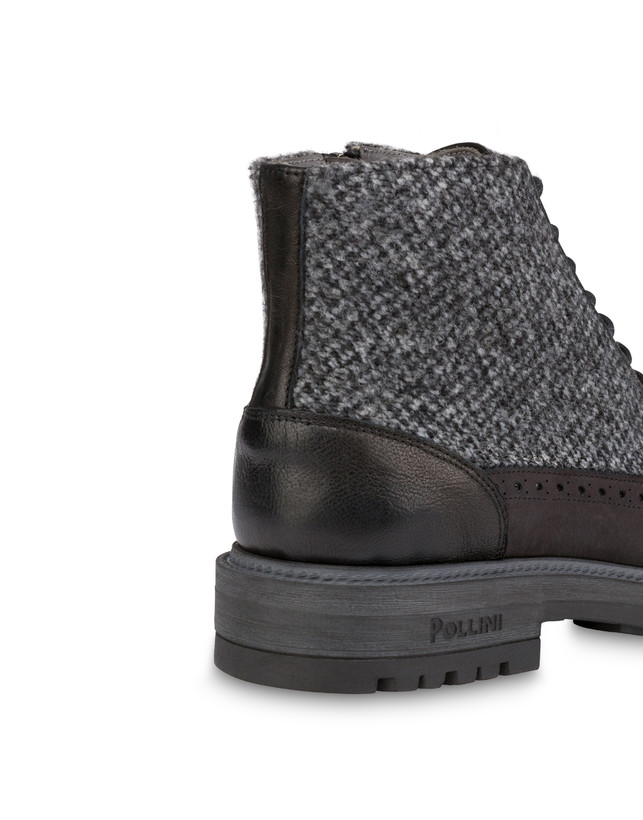 Lace-up ankle boots with zipper in nubuck and kidskin. Photo 7