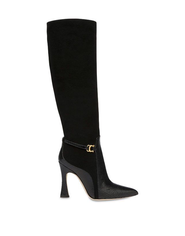 Arco suede leather and python print leather boots Photo 1