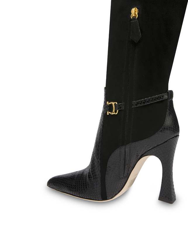 Arco suede leather and python print leather boots Photo 5