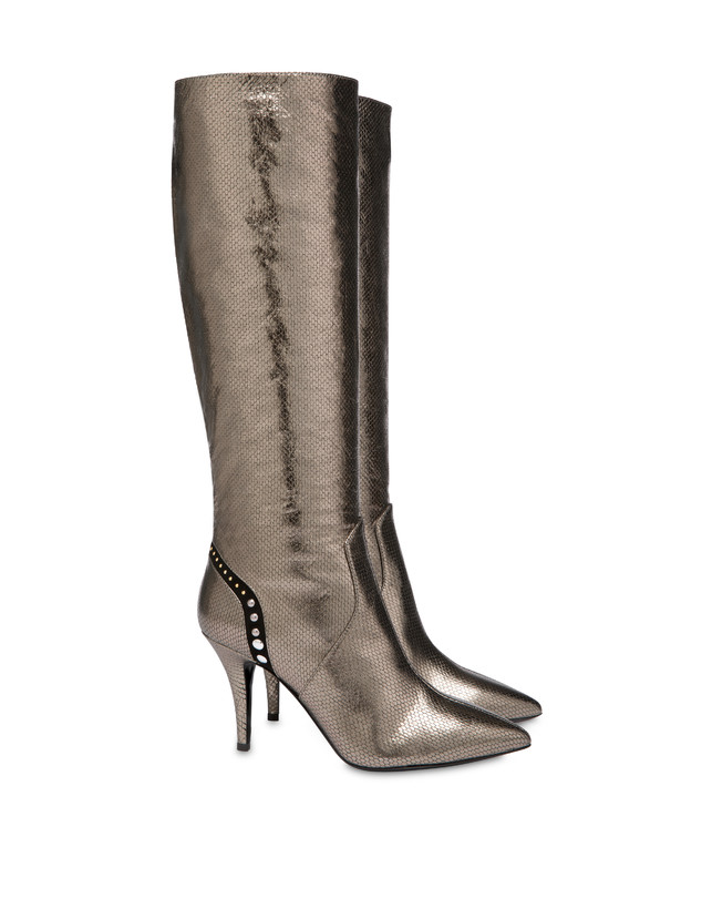 Regina python print laminated calfskin boots Photo 2