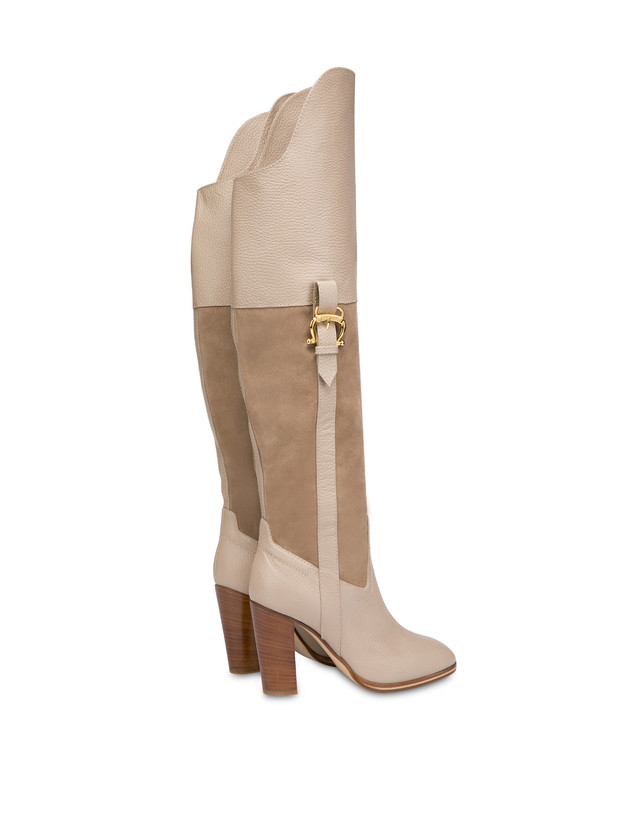 High boots in suede and Cabiria Buckle calfskin Photo 3