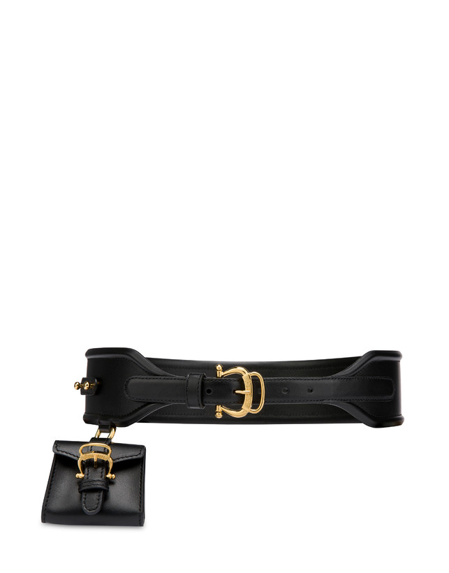 High-waisted belt in calfskin with mini bag Photo 1