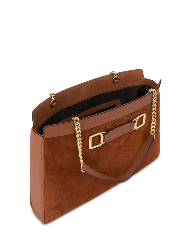 Half-moon shoulder bag in garnet calfskin and Annabelle suede leather Photo 4