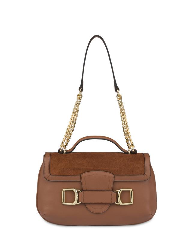 Annabelle handbag in garnet calfskin and suede leather Photo 1