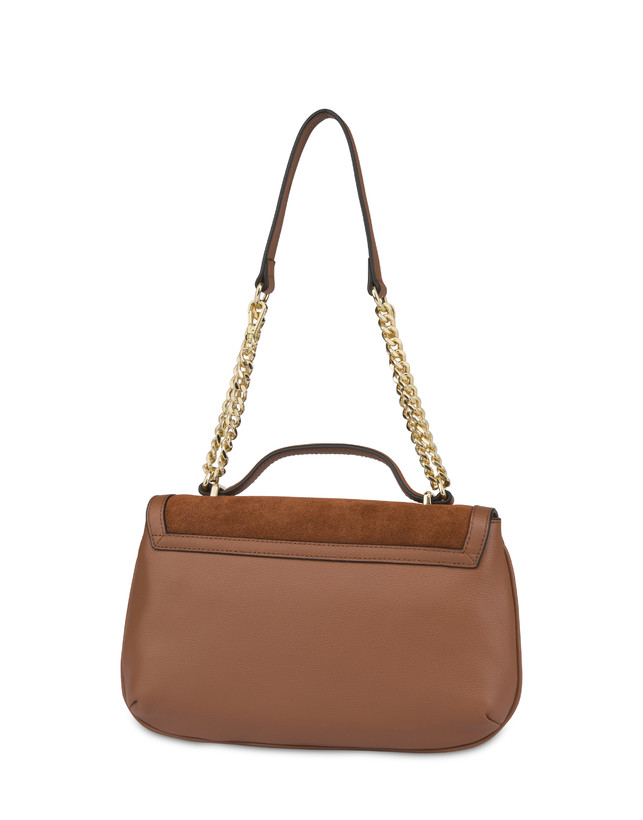 Annabelle handbag in garnet calfskin and suede leather Photo 3