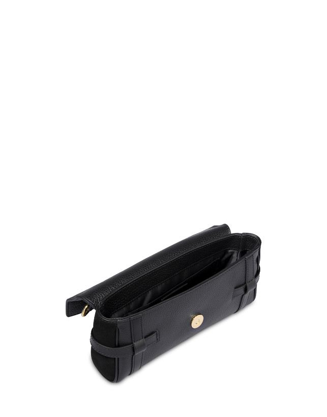 Borsa a spalla in vitello bottalato nero Giulietta Clamp Photo 4