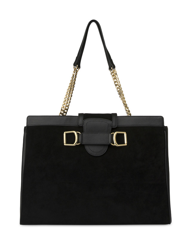 Half-moon shoulder bag in garnet calfskin and Annabelle suede leather Photo 1