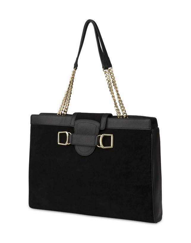 Half-moon shoulder bag in garnet calfskin and Annabelle suede leather Photo 2