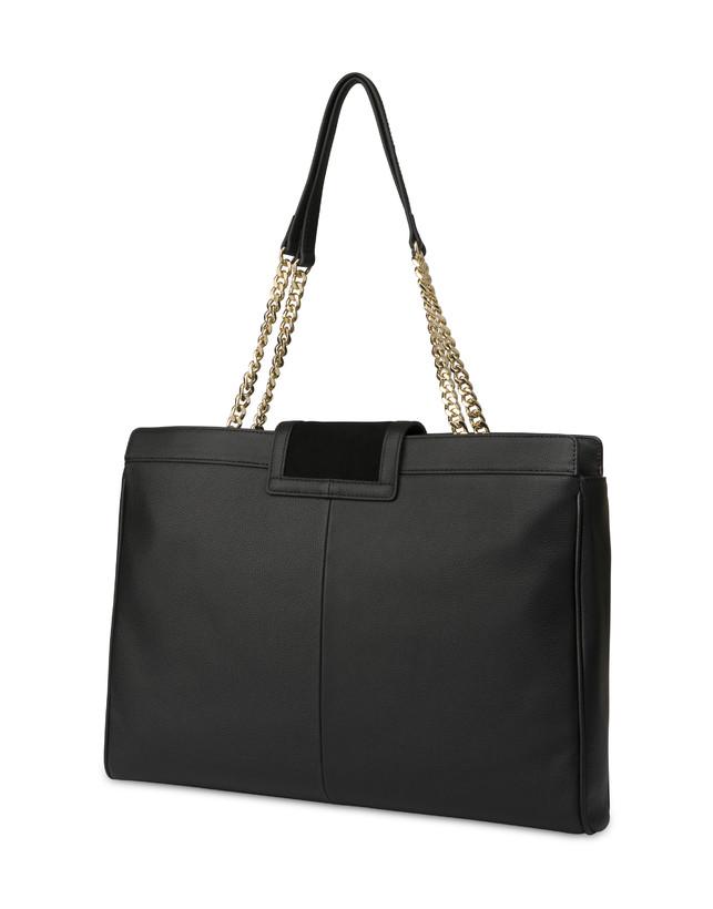Half-moon shoulder bag in garnet calfskin and Annabelle suede leather Photo 3