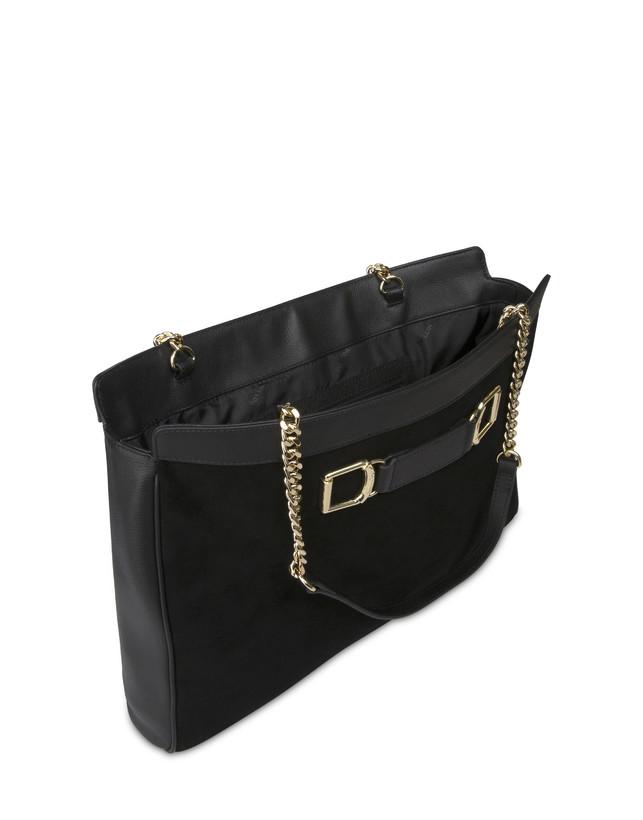 Half-moon shoulder bag in garnet calfskin and Annabelle suede leather Photo 4