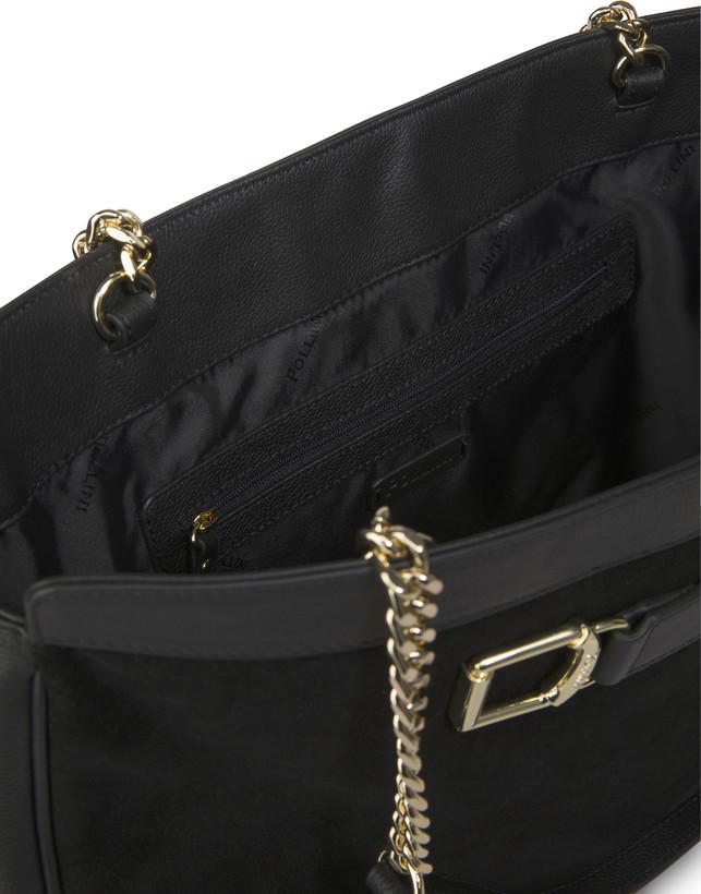 Half-moon shoulder bag in garnet calfskin and Annabelle suede leather Photo 5