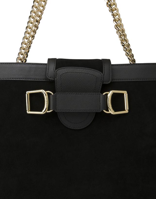 Half-moon shoulder bag in garnet calfskin and Annabelle suede leather Photo 6