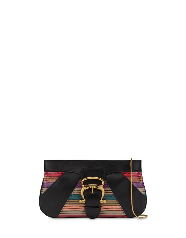 Clutch bag in calfskin and multi-striped elaphe Photo 1