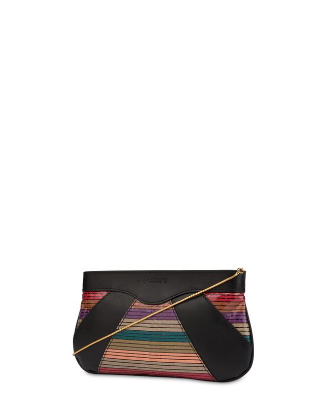 Clutch bag in calfskin and multi-striped elaphe Photo 3