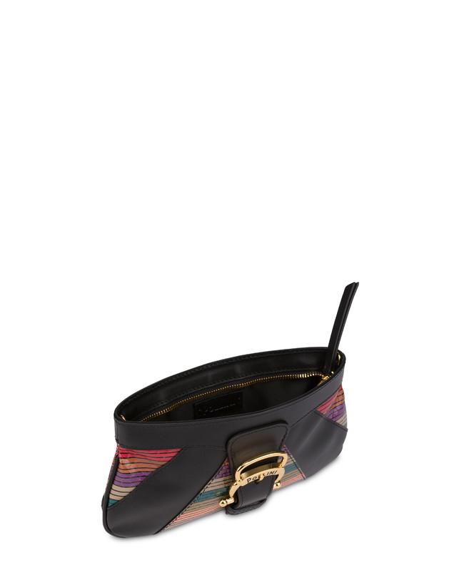 Clutch bag in calfskin and multi-striped elaphe Photo 4