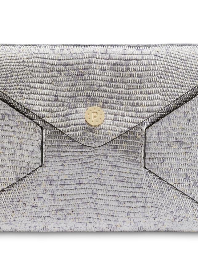 Mail clutch bag in laminated goatskin Photo 5