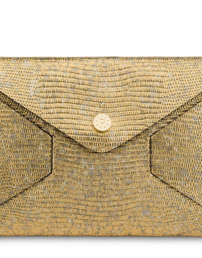 Mail clutch bag in laminated goatskin Photo 5
