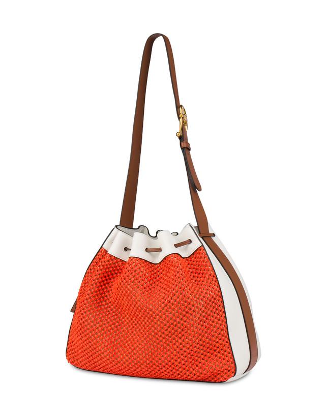 Aura bucket bag in raffia and calfskin Photo 3
