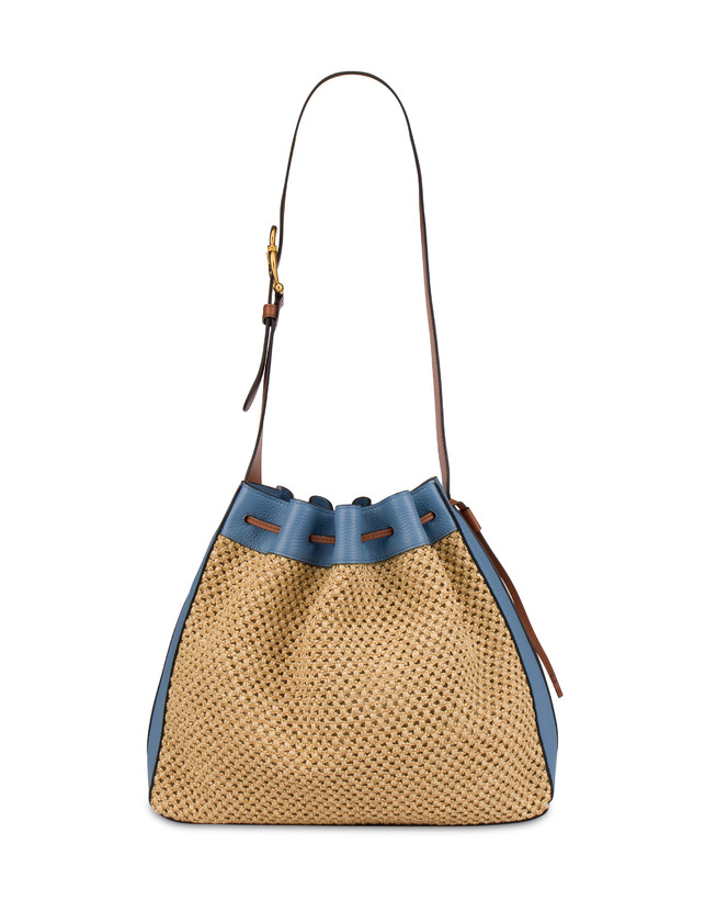 Aura bucket bag in raffia and calfskin Photo 1
