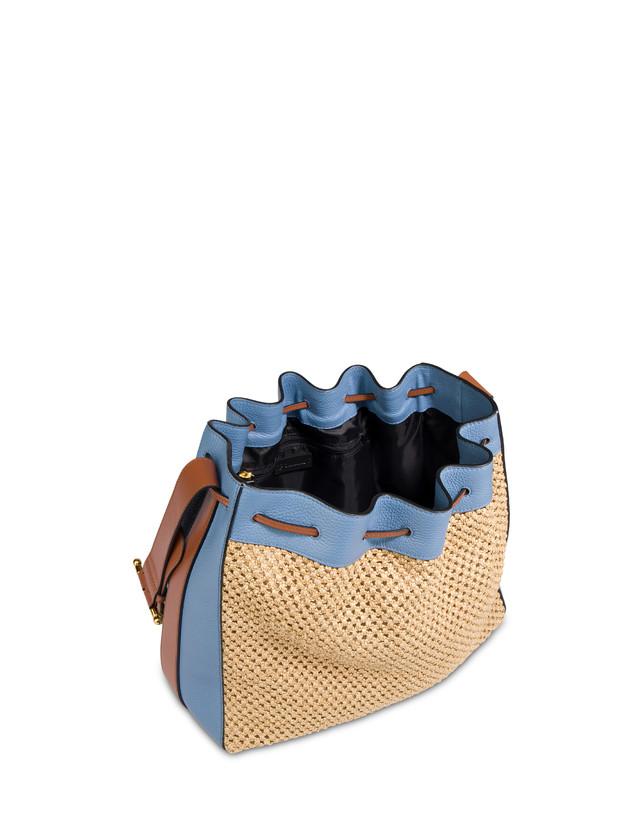 Aura bucket bag in raffia and calfskin Photo 4