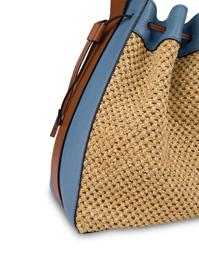 Aura bucket bag in raffia and calfskin Photo 5
