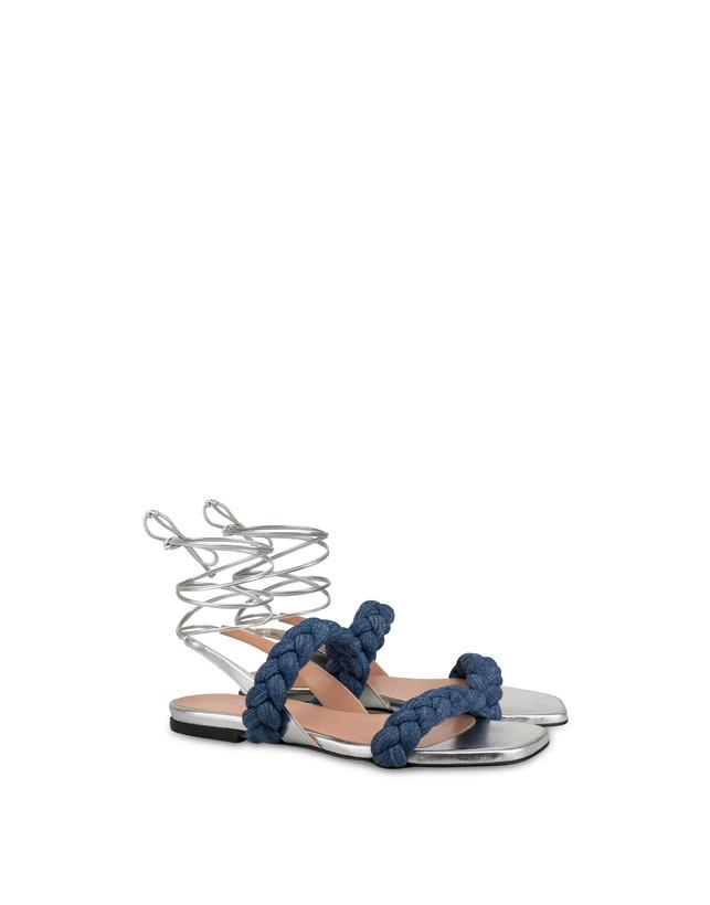 Greek Islands denim and laminate flat sandals Photo 2