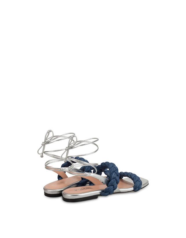 Greek Islands denim and laminate flat sandals Photo 3