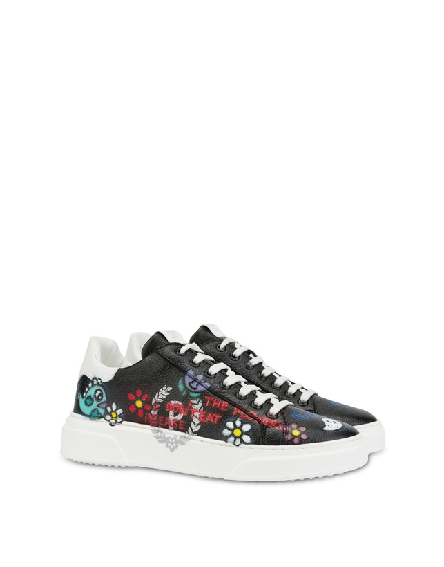 Black leather 'Please don't eat the flowers' sneakers Photo 2