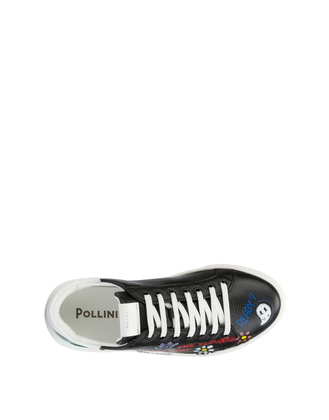 Black leather 'Please don't eat the flowers' sneakers Photo 3