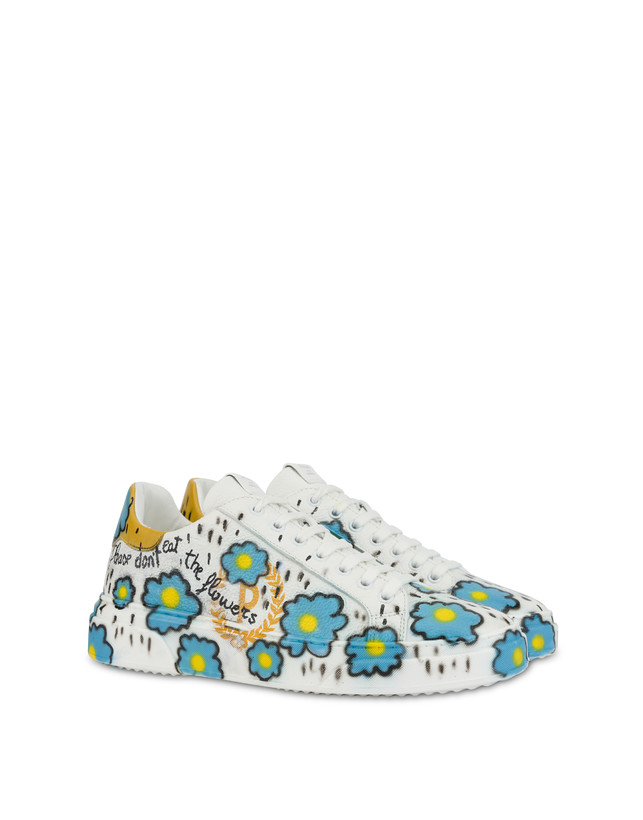 'Please don't eat the flowers' leather sneakers with floral print Photo 2