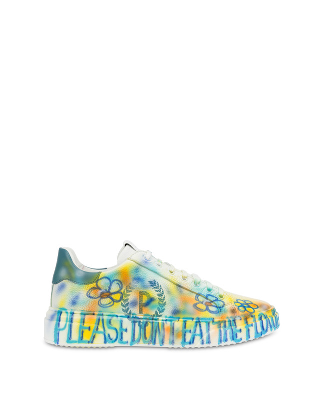Leather sneakers with 'Please don't eat the flowers' written Photo 1