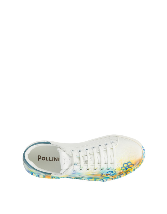 Leather sneakers with 'Please don't eat the flowers' written Photo 3