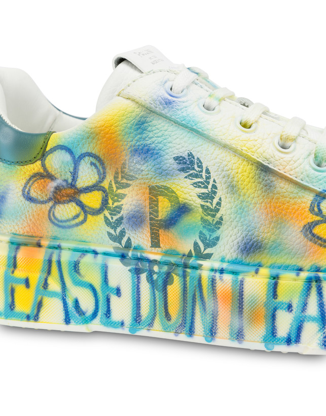 Leather sneakers with 'Please don't eat the flowers' written Photo 5