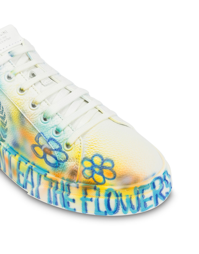 Leather sneakers with 'Please don't eat the flowers' written Photo 6