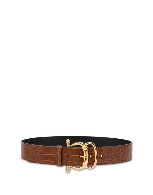 Croc-print calf leather belt Photo 1