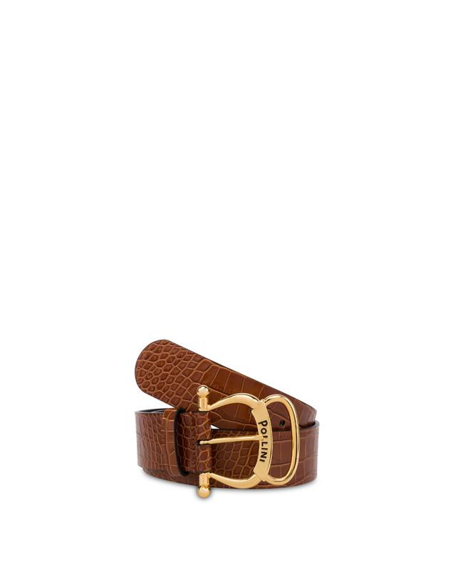 Croc-print calf leather belt Photo 2