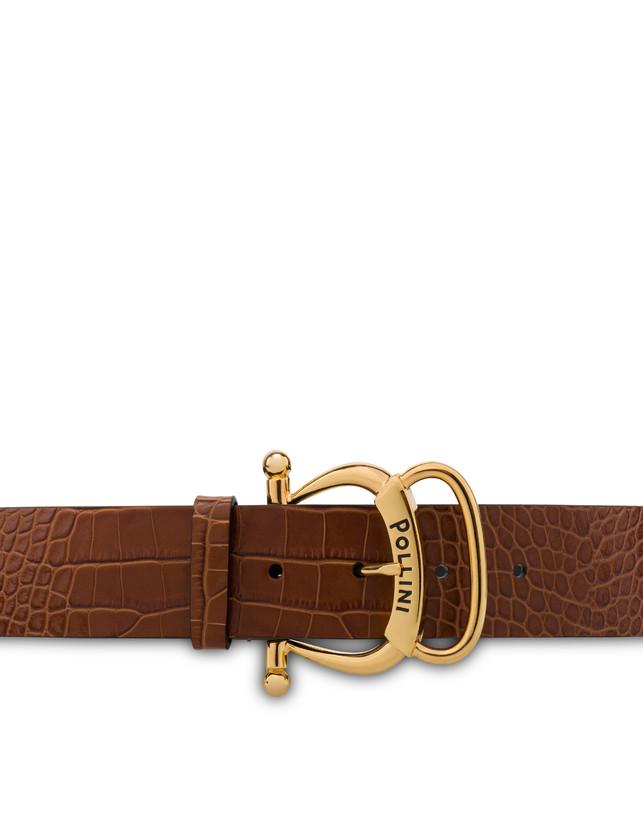Croc-print calf leather belt Photo 3